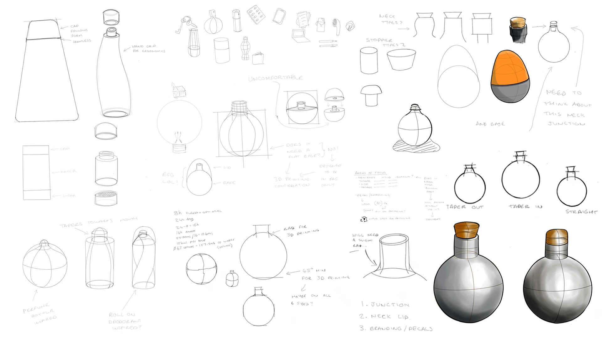 Sketches of Drop water bottle